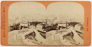 Marsiglia Panorama Foto Stereo Vintage Albumina c1870 Cartoncino Danneggiati