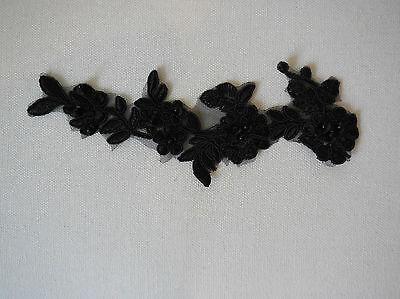 Nupcial Boda Zapatos de apliques de encaje floral con cuentas con cuentas de encaje Motif 17.5cmx5.5cm