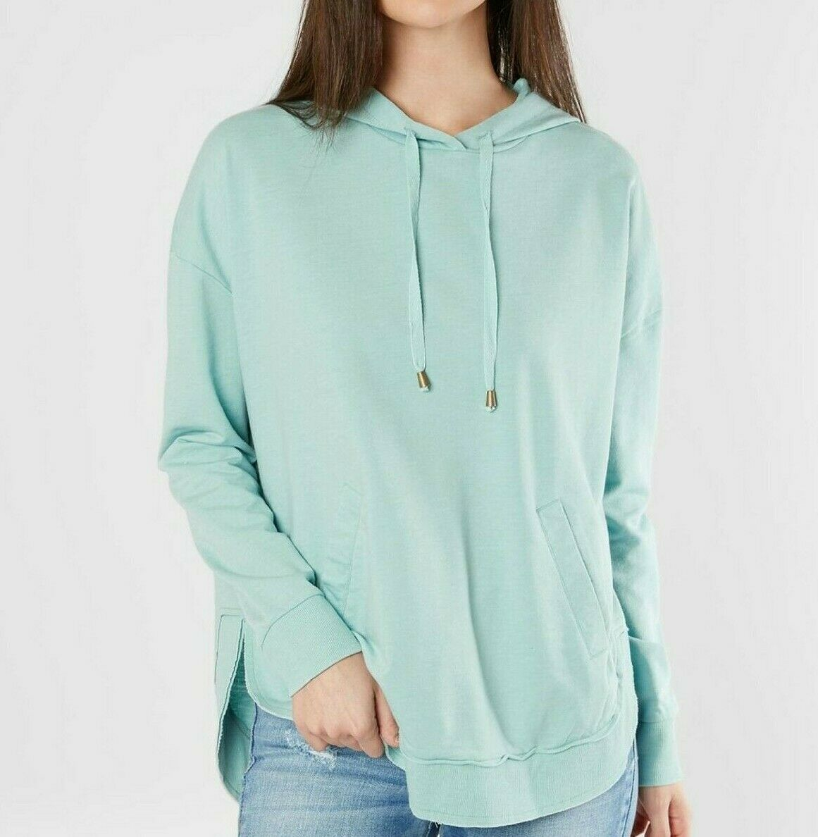 NWT - WHITE CROW Women's 'THE HOODED DAKOT' L S DRAWSTRINGS Fair Aqua HOODIE- XL