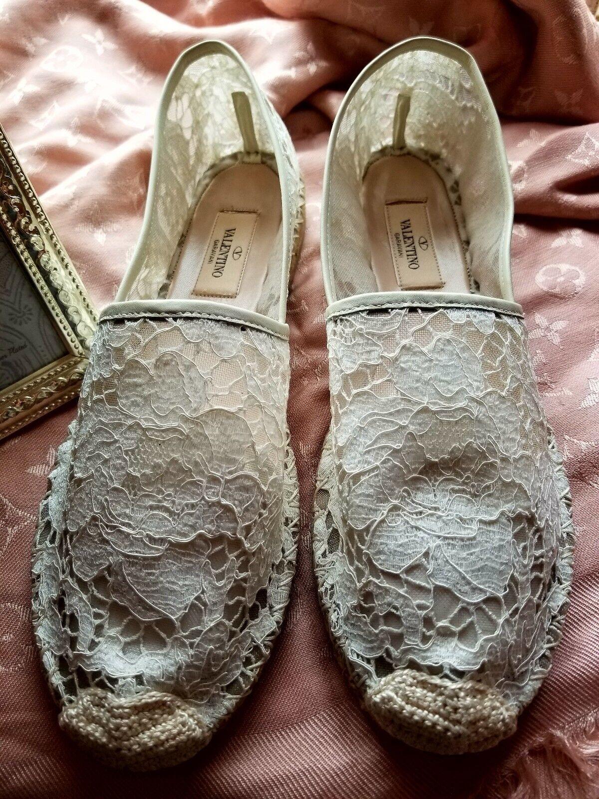 New Valentino Garavani Floral Rose Print Lace Flat Espadrilles chaussures Sz 40