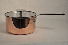 """MAUVIEL Copper Saucepan Casserole with Glass Lid 7"""" France New"""