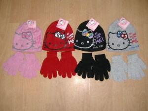 New Girls Hello Kitty Hat Scarf And Glove//Mitten Set Kids Age 2-4Years
