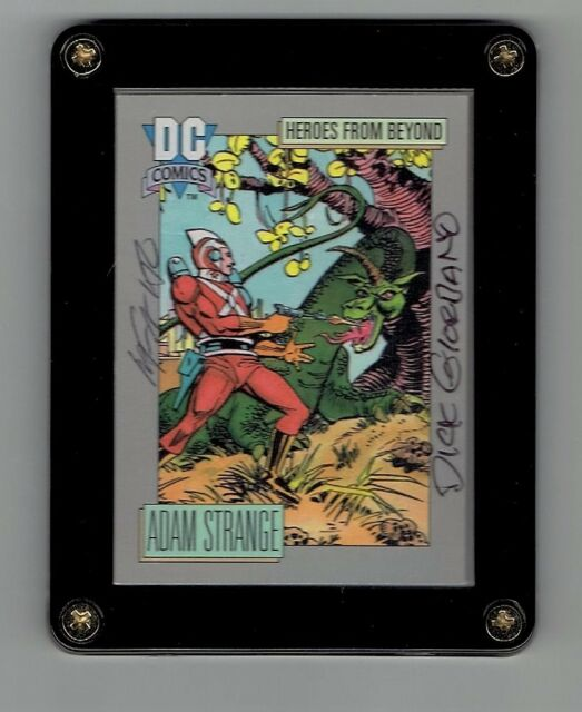 CARMINE INFANTINO AND DICK GIORDANO DOUBLE SIGNED ADAM STRANGE TRADING CARD RARE