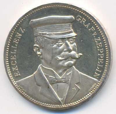 Graf Zeppelin LZ 4 Dirigible Test Flight Strassburg Silver Medal 1908 Ein Thaler