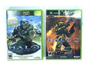 Original-Microsoft-Xbox-Bundle-Videospiele-Menge-2-Halo-2-amp-Combat-Evolved-Game