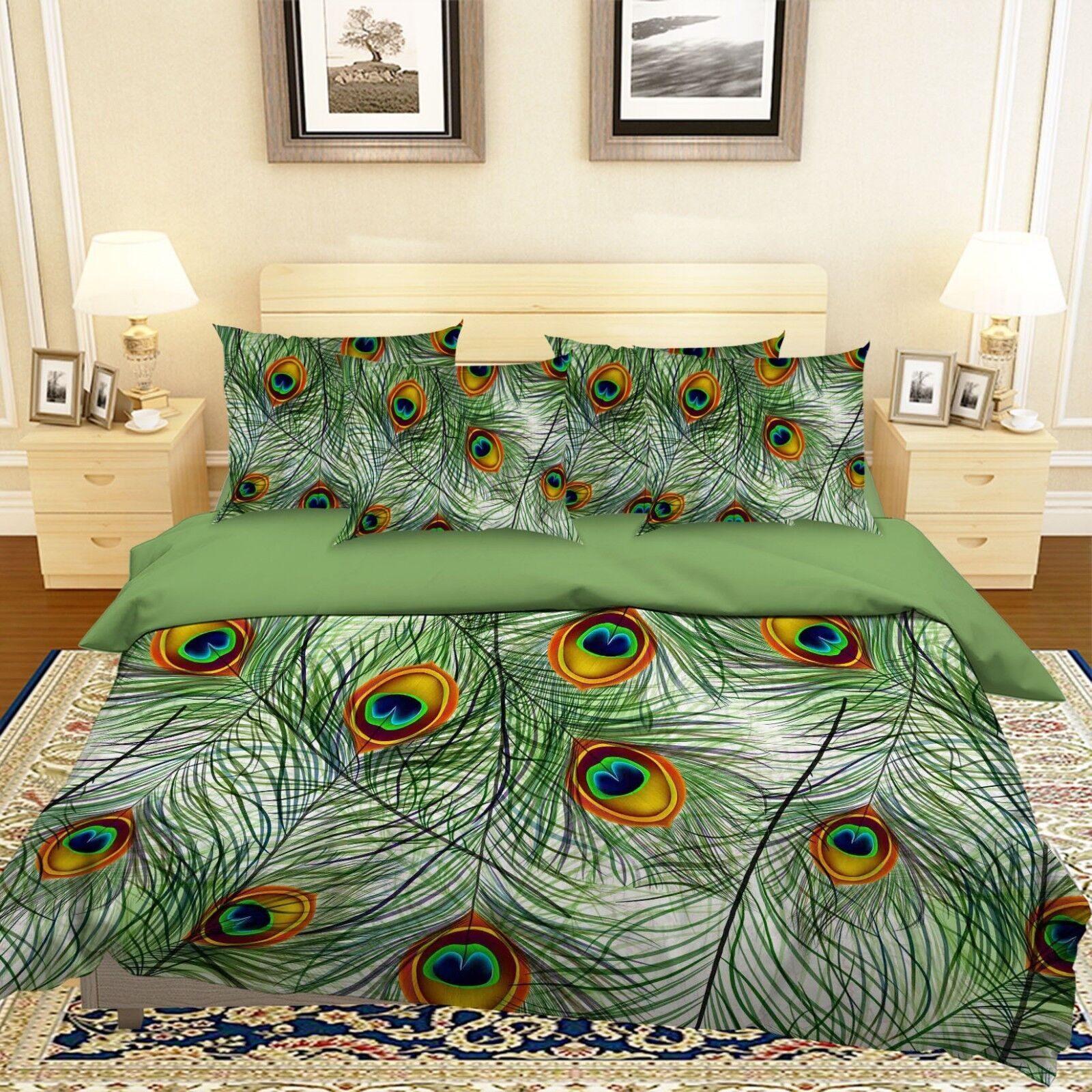 3D Peacock Feather 93 Bed Pillowcases Quilt Duvet Cover Set Single Queen King CA