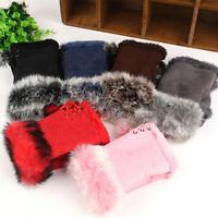 Chic Nice Women's Rabbit Fur winter leather Warm Fingerless Gloves Warm