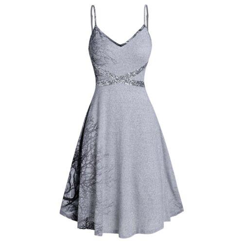 Women Fashion Spaghetti Strap Tree Print Sequined Dress Size S,M,L,XL,2XL,3XL