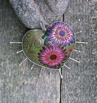 Amazing Silver Spike Alebrije Hand Made Heart Pendant Oaxaca Mexican Folk Art