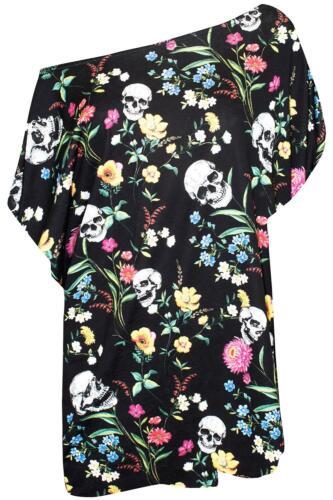 Ladies Womens Pumpkin Web One Shoulder Batwing Bardot Oversize Baggy T Shirt Top