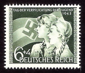 DR-Nazi-3rd-Reich-Rare-WW2-Stamp-Hitler-Jugend-Girl-Scout-Swastika-Flag-Bearer-S