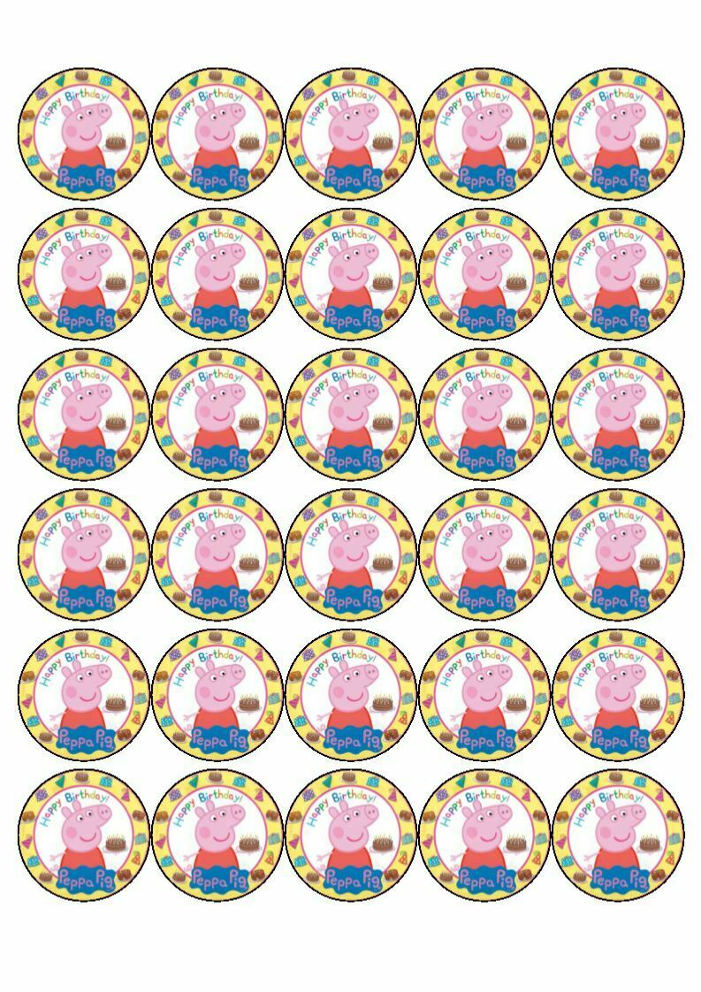 30 x Cup Cake Edible Cake Topper Edible Rice Paper Cocomelon Birthday Party