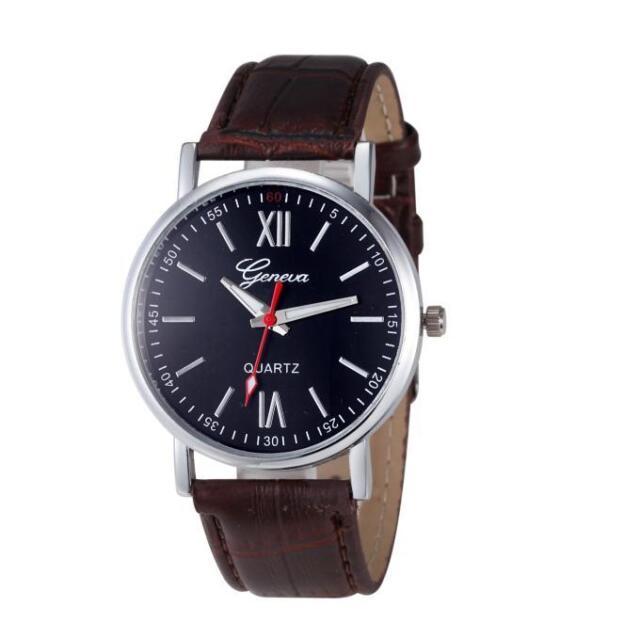 Fashion Men Women Geneva Watch Leather Analog Stainless Steel Quartz Wrist Watch