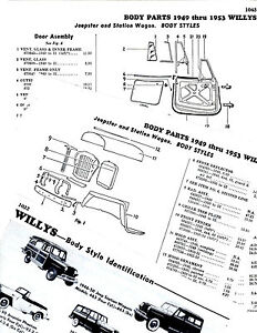 1949-1950-1951-1953-WILLYS-JEEPSTER-STATION-WAGON-BODY-PART-FRAME-CRASH-SHEETS