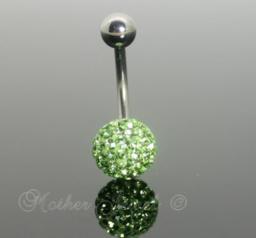 Sparkly 9mm Green Crystal 14g 316L Surgical Steel Banana Belly Ring 14 Gauge