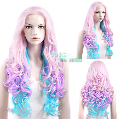 """26"""" Long Curly Wavy Light Pink Purple Blue Lace Front Wig Heat Resistant"""