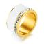 Indexbild 7 - EDELSTAHL Ring STRASS silber rose gold Keramik Fingerring weiß DELUXE + AUSWAHL