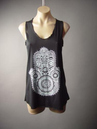 Black Ethnic Boho Henna Tattoo Hamsa Hand Design Tank Top 199 mv Shirt S M L