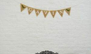 Happy Birthday Banner Personalized Burlap Garland Party Decor Hessian Banner