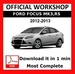 official workshop manual service repair ford focus mk3 rs mk2 2012 rh ebay co uk Ford Focus Repair Manual Chilton 1999 Ford Taurus Repair Manual
