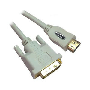 15 Ft White High Performance DVI Dual Link to HDMI Cable - 26AWG 1080p Full HD