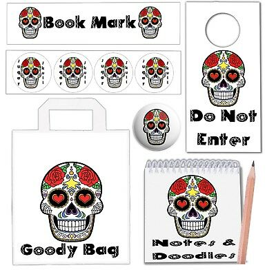 6 Sugar Skull Day Of The Dead Party Bags With Fillers Girls Teenagers Gothic