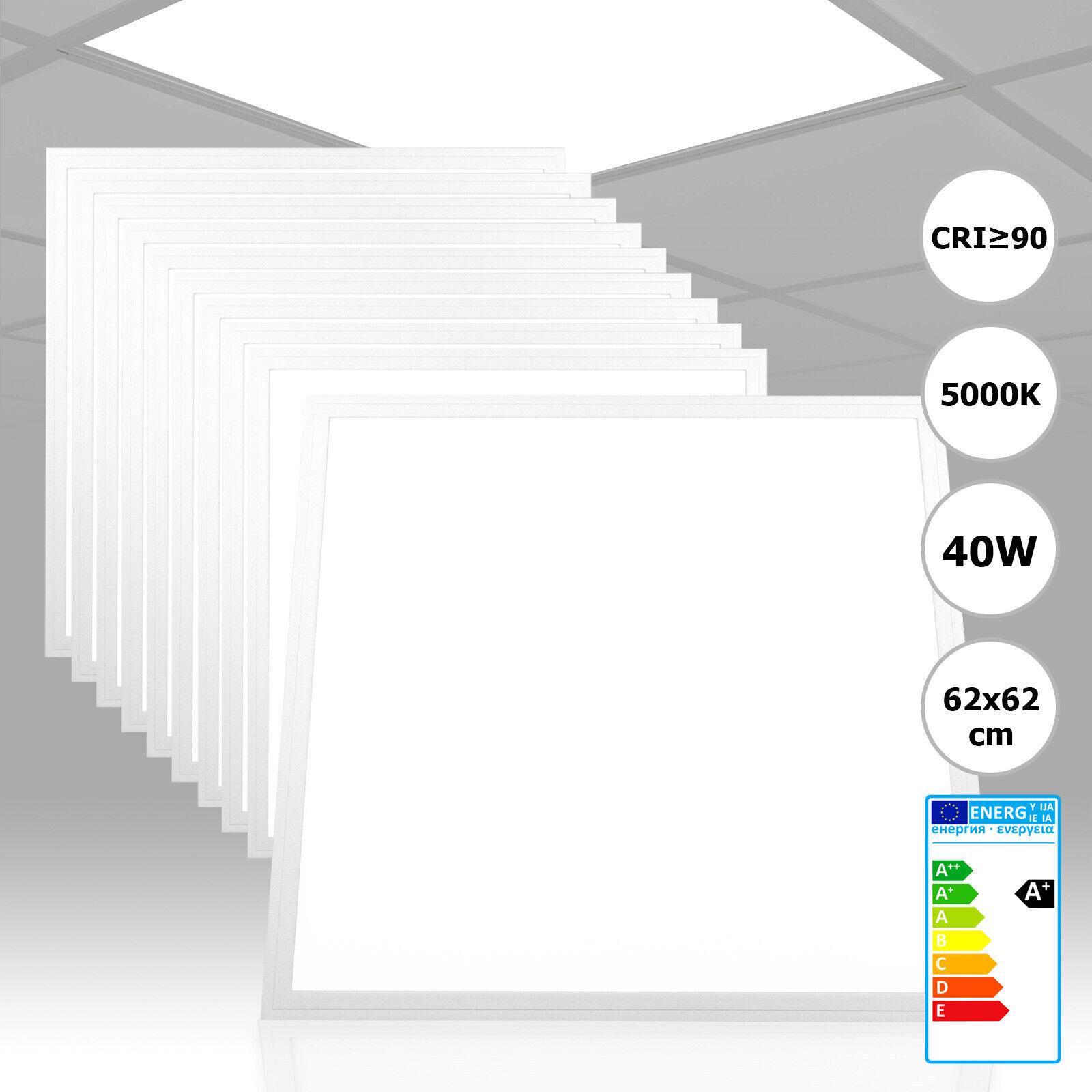 10x Xtend LED Panel 62x62 Neutralweiß 40W 5000K CRI90 hohe Farbwiedergabe PMMA