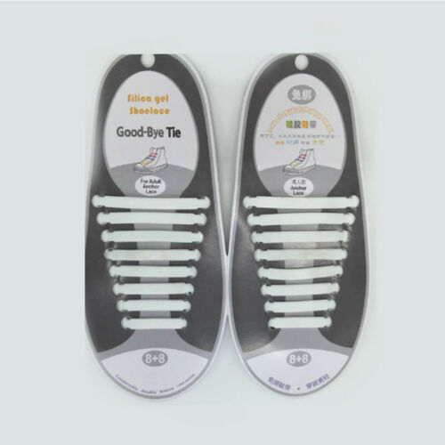 Lazy No Tie Elastic Silicone Shoe Laces Shoelaces 1 Set//16pcs Child//Man//Woman