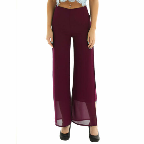 Women High Waist Layers Palazzo Trousers Wide Leg Loose Chiffon Harem Yoga Pants