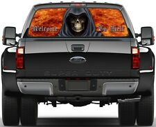 Grim Reaper  Fire Welcome To Hell 2  Rear Window Graphic Decal Truck SUV