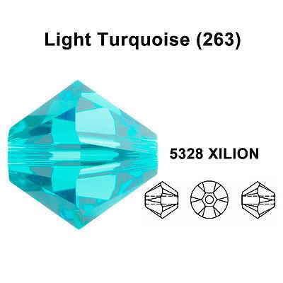 LIGHT TURQUOISE teal Genuine Swarovski 5328 XILION Bicone Beads *All Sizes 263
