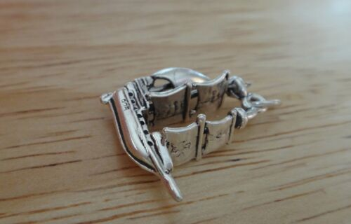 Sterling Silver 3D 22x19x6mm Old Sailboat Pirate type Ship Charm