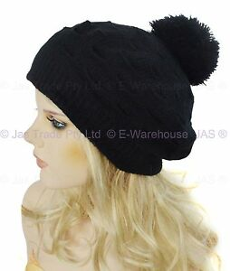 Girls-Ladies-Knit-Knitted-Beehive-Puff-Popcorn-Beret-Beanie-Hat-Pom-Pom-Angora