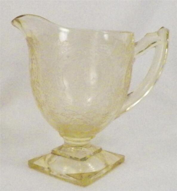 Horseshoe Yellow Depression Glass Creamer Cream Pitcher Indiana Glass Vintage