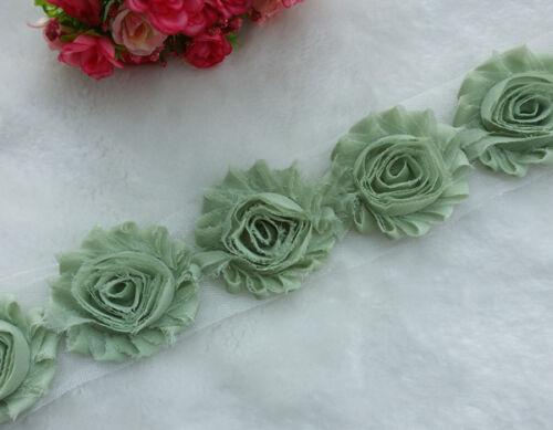 75PCS Shabby Frayed Chiffon Rose Soild Flowers Mix Hair trim DIY Craft Supply v