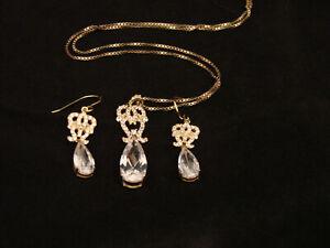 Collier-mit-Anhaenger-45cm-Ohrhaenger-Set-Silber-vergoldet-attraktiv-elegant