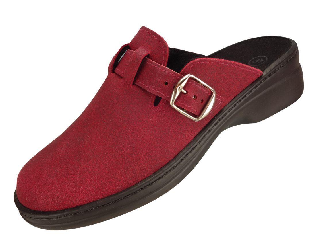 Algemare DamenClog Hausschuh Leder  rot  Wechselfußbett waschbar 5970_5718 Clog