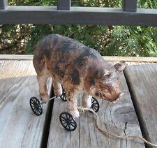 PIG Hog Piggy PULL TOY Statue*Primitive/French Country Farmhouse Urban Decor