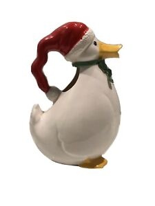 VINTAGE-FITZ-AND-FLOYD-CHRISTMAS-DUCK-PITCHER