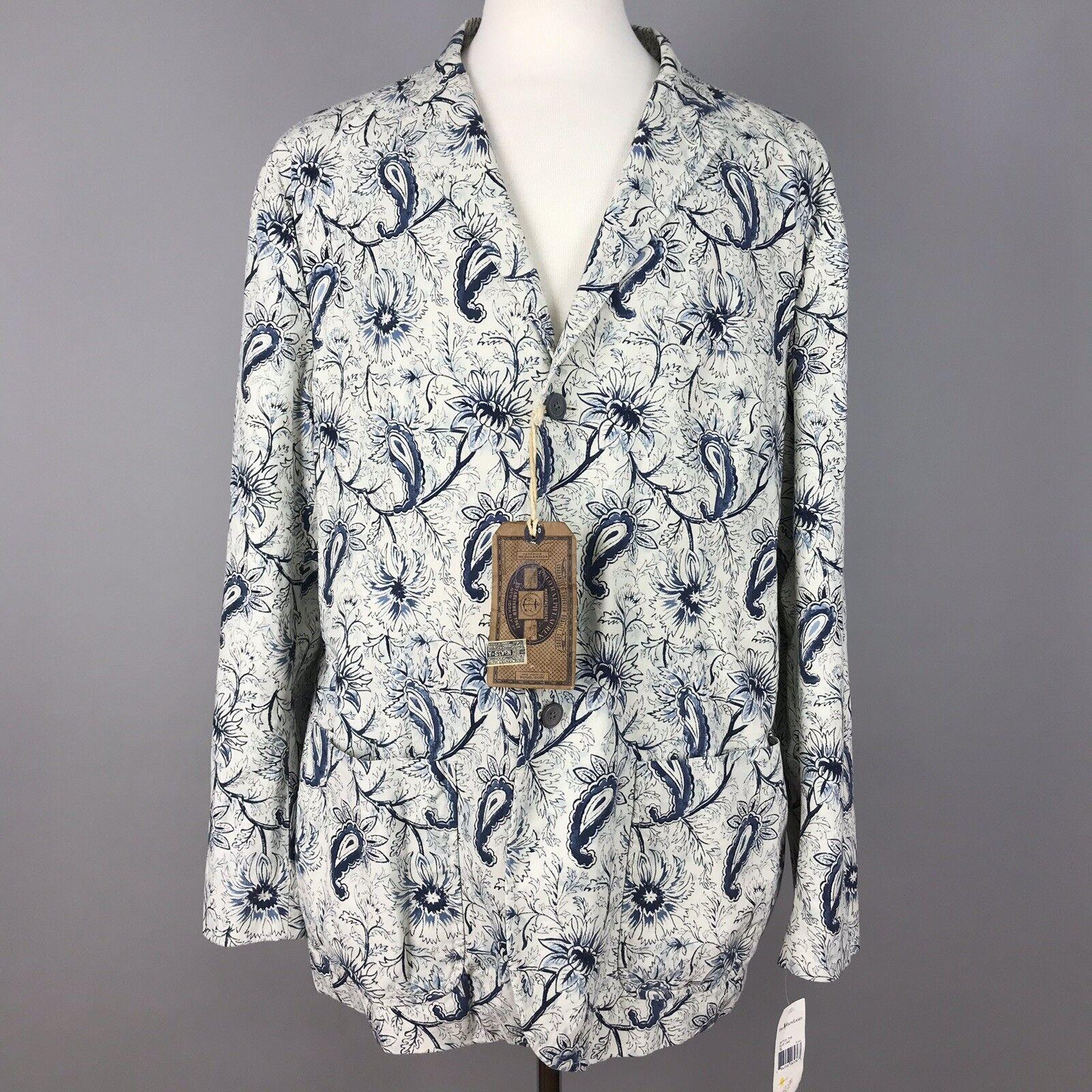 Polo Ralph Lauren  Herren XL Blau Cream Paisley Thompson Fit Sport Coat MSRP245