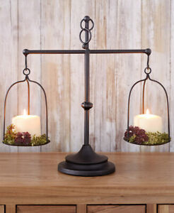 Decorative-Antique-Metal-Farmhouse-Scale-Candle-Holder-Country-Home-Table-Decor