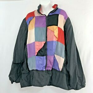 Vintage Color Block Windbreaker 80s 90s Zip Up Track Jacket Plus Size 28
