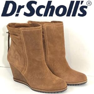 Dr-Scholls-Womens-Original-Collection-Wedge-Ankle-Boots-Suede-Leather-Size-6-5