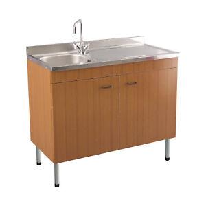 Lavello acciaio inox 1 vasca gocciolatoio destro con mobile cucina teak 90x50 cm ebay - Mobile lavello cucina acciaio ...