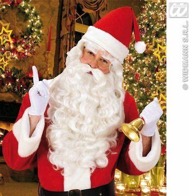 Premium Santa Claus Father Christmas White Wig Beard and Glasses Fancy Dress UK
