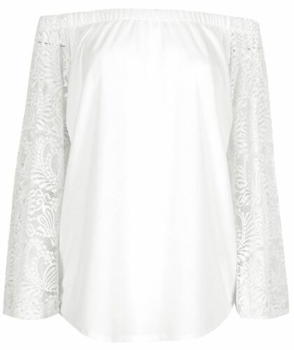 New Ladies Off Shoulder Floral Lace Bell Sleeve Top 8-14