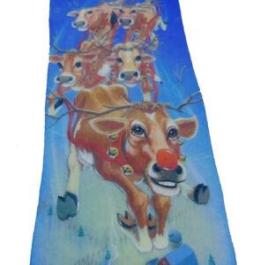 Ralph-Marlin-MOOdolf-The-Red-Nose-Cow-Christmas-Tie-56-034-x-4-034-Santa-Pig-Chickens