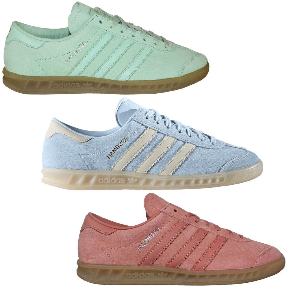 Adidas Originals Hambourg Sneaker Femmes Chaussures Chaussures en Cuir Rose Comme neuf Bleu Clair-