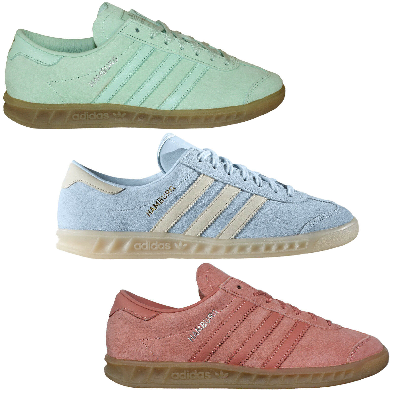 Adidas Originals Hamburg Ladies Sneaker shoes Leather shoes pink Mint Light bluee