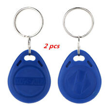 2 Pcs Proximity ID EM4100 Blue RFID Keyfobs Tag 125Khz Key Token NEW Chain